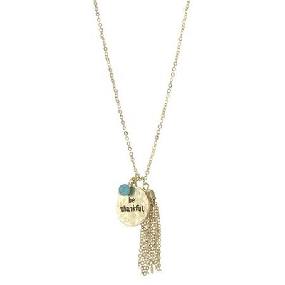 Be Thankful, Charm Necklace, Gold with Turquoise Beads  -
