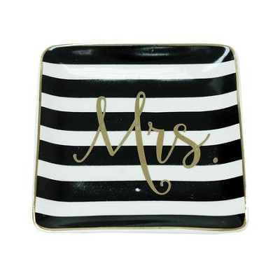 Mrs. Ceramic Tray, Black and White Stripes  -