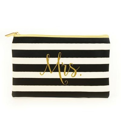 Mrs. Zipper Pouch, Black and White Stripes  -