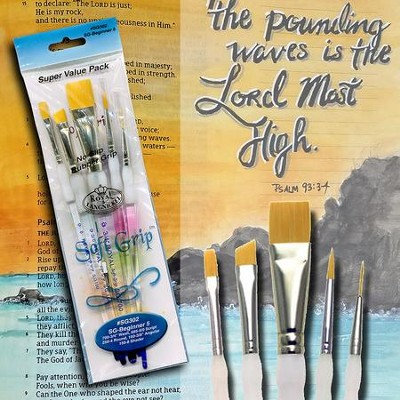 Soft Grip Paints Brushes, Pack of 5  -