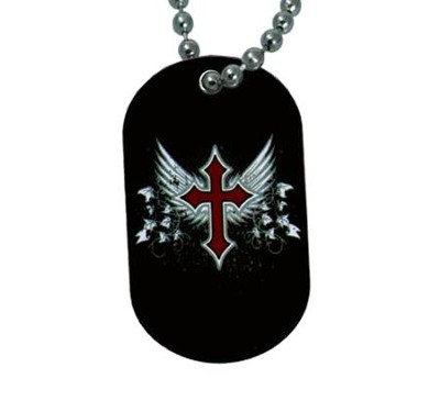 Cross with Wings Dogtag Pendant  -