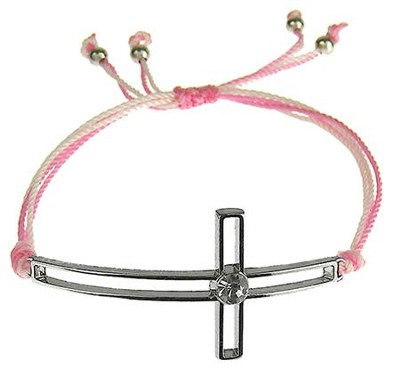 Silk Cord Side-Cross Bracelet, Pink, Light Pink  -