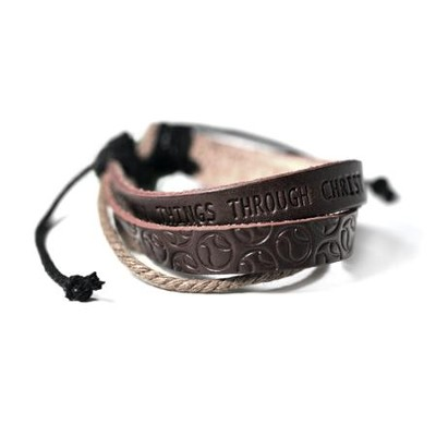 Baseball, Leather And Jute Stamped Bracelet  -