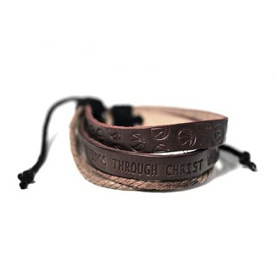 Basketball, Leather And Jute Stamped Bracelet  -