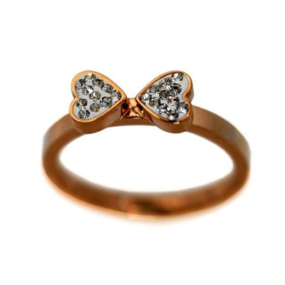 Goldtone Ring With Crystal Heart, Size 8  -