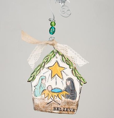 Believe Nativity Flat Stable Ornament  -