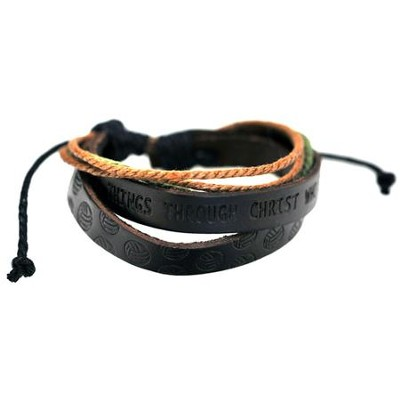 Volleyball, Leather And Jute Stamped Bracelet  -