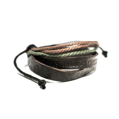 Soccer, Leather And Jute Stamped Bracelet  -