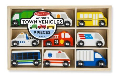 Wooden Town Vehicles Set, 9 pieces  -