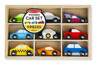 Wooden Cars Set, 9 Pieces  -