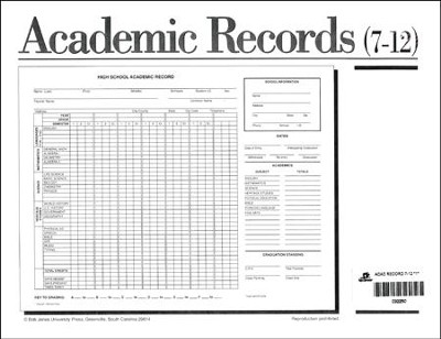 BJU Academic Record, Secondary (Single Copy)   -