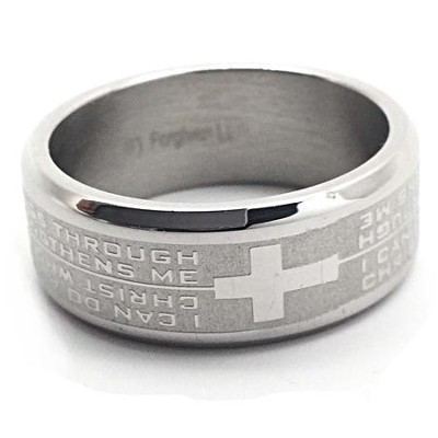 I Can Do All Things, Philippians 4:13 Stainless Steel Ring, Size 10  -