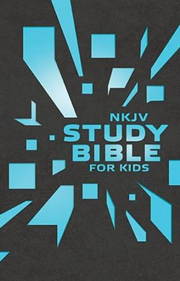 NKJV Study Bible for Kids--soft leather-look, grey/blue  -