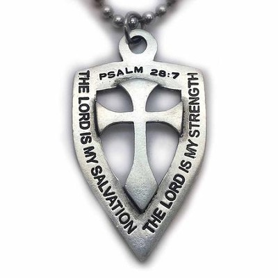 Cross and Shield, Psalm 26:7, Pendant on 30 Ball Chain  -