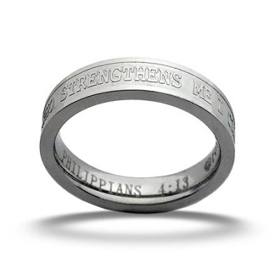 I Can Do All Things Ring, Silver, Size 10  -