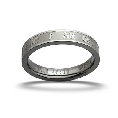 Be Still and Know Ring, Psalm 46:10, Silver, Size 9  -