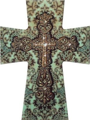 Layered Wall Cross, Turquoise and Brown  -