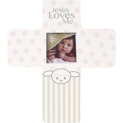Jesus Loves Me, Precious Lamb Cross with Photo Frame, Girl  -