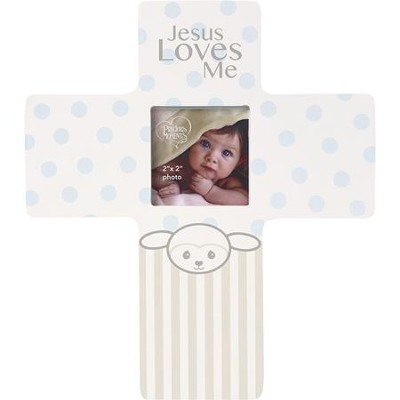 Jesus Loves Me, Precious Lamb Cross with Photo Frame, Boy  -
