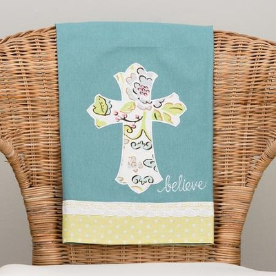Believe with Floral Cross Tea Towel  -