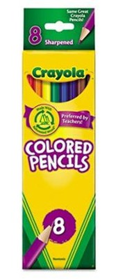 Colored Pencils, Long, Pack of 8  -