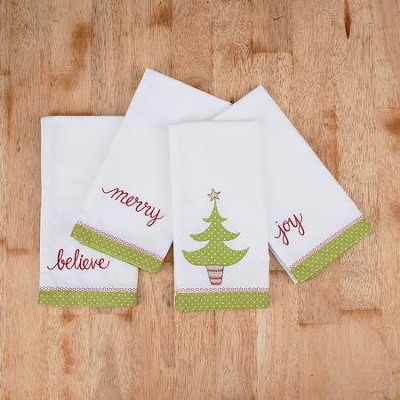 Christmas Tree Napkins, Set of 4  -