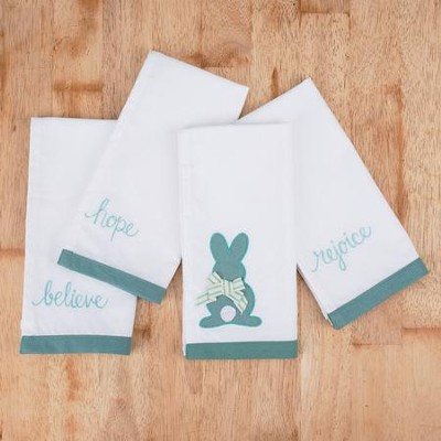 Bunny, Hope, Believe, Rejoice Cloth Napkins, Set of 4  -