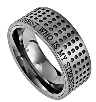 Christ My Strength Sport Men's Ring Silver, Size 8 (Philippians 4:13)  -