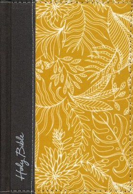 NKJV Reference Bible, Compact, Large Print, Hardcover, Yellow/White, Red Letter Edition  -