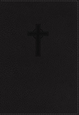 NKJV Reference Bible, Compact, Large Print, Imitation Leather, Black, Red Letter Edition, Cross Design  -