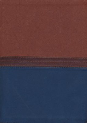 NKJV MacArthur Study Bible--soft leather-look, auburn/navy (indexed)  -     By: John MacArthur
