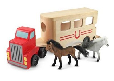 Wooden Horse Trailer Set  -