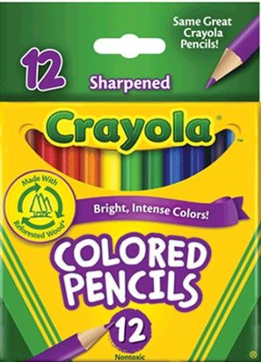 Colored Pencils, Short, Pack of 12  -