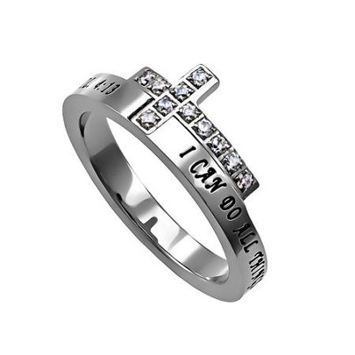 Christ My Strength, Just The Cross Ring, Size 5   -