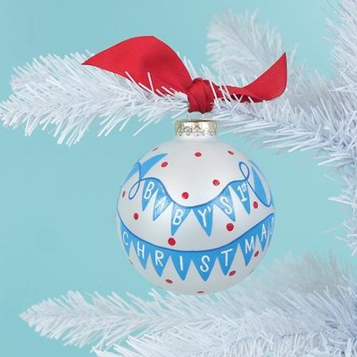 Baby's 1st Christmas Banner Ornament, Boy  -
