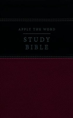 NKJV Apply the Word Study Bible--soft leather-look, deep rose/black (indexed)  -