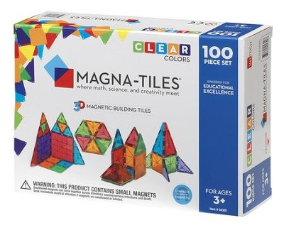 MAGNA-TILES, 100 Piece Set, Clear  -