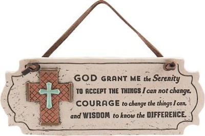 Serenity Prayer Hanging Plaque with Cross  -