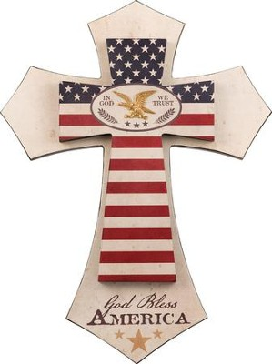 God Bless America Layered Wall Cross  -