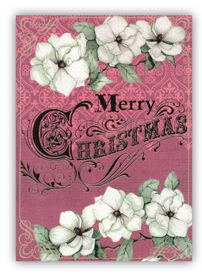 Merry Christmas Foil Cards with Flowers, Box of 12  -