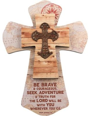 Be Brave & Courageous, Joshua 1:9, Layered Wall Cross, Maps and Metal Cross  -