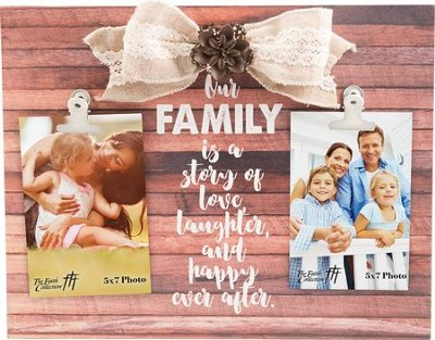 Our Family is a Story of Love...Plaque with photo clips   -