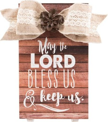 May the Lord Bless Us & Keep Us Plaque with Bow  -