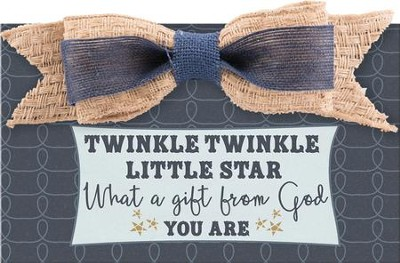 Twinkle Twinkle Little Star Baby Boy Wall Plaque with Bow  -