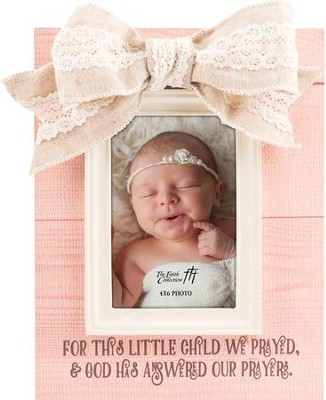For This Child We Prayed, Baby Girl Frame with Bow  -