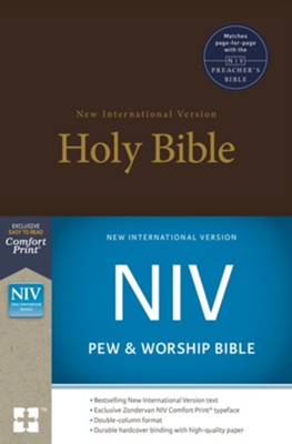 NIV Pew and Worship Bible--hardcover, brown - Slightly Imperfect  -