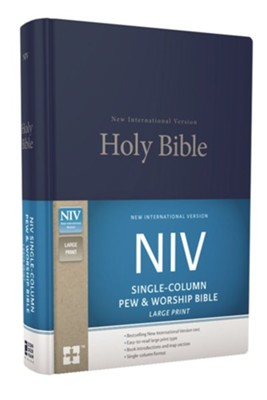 NIV Large-Print Single-Column Pew and Worship Bible--hardcover, blue  -