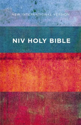 NIV Value Outreach Bible--softcover, red/blue stripes  -