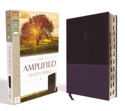 Amplified Study Bible--soft leather-look, purple (indexed)  -