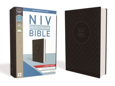 NIV Value Thinline Bible Large Print Gray and Black, Imitation Leather  -